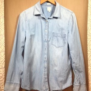 J Crew large chambray perfect fit top